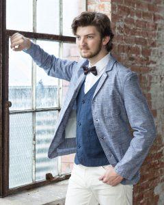 stylish senior in bow tie
